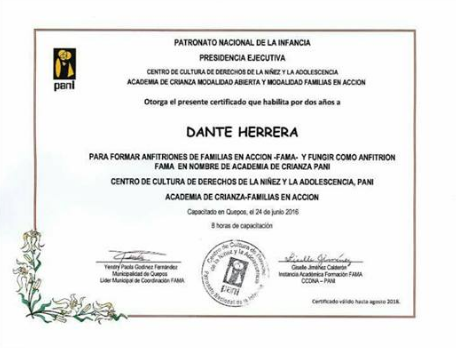 Award for community service in Manuel Antonio for helping youth and cleaning the beaches